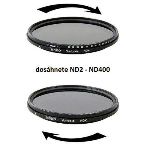 Lensso ND2-ND400 77mm šedý neutrální filtr